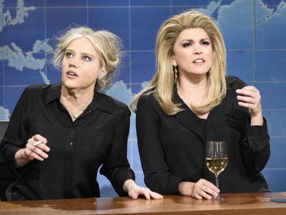 Kate McKinnon y Cecily Strong como Brigitte Bardot y Catherine Deneuve.