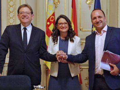 Ximo Puig, Mónica Oltra y Rubén Martínez Dalmau den 2019, cuando cerraron los primeros acuerdos para formar el gobierno autonómico.