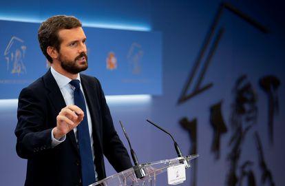 Pablo Casado, líder del PP, durante una comparecencia, esta semana.