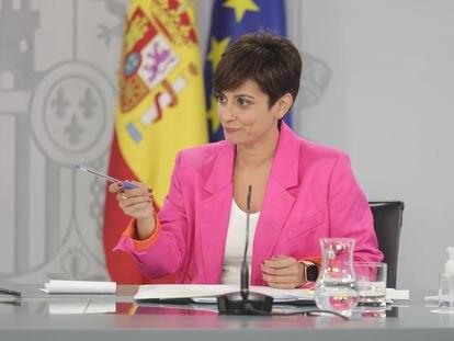 La ministra portavoz, Isabel Rodríguez, durante su comparecencia tras el Consejo de Ministros de este martes.