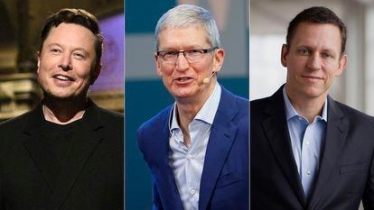 Elon Musk, fundador de SpaceX (desde la izquierda); Tim Cook, consejero delegado de Apple, y Peter Thiel, cofundador de PayPal.