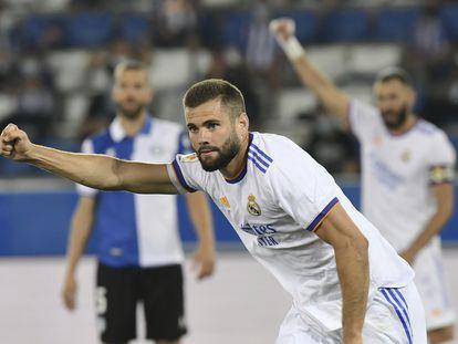 Nacho celebra su gol ante el Alavés el pasado sábado en Mendizorroza.