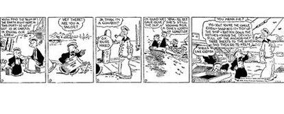 La tira del 17 de enero de 1929 de <i>Thimble Theatre,</i> de Elzie Crisler Segar, con la primera aparición de Popeye.