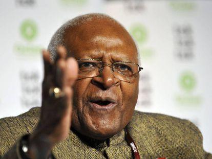 El arzobispo Desmond Tutu en una conferencia de Oxfam en Dinamarca en 2009.