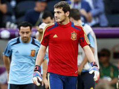Fotografía tomada el pasado 22 de junio en la que se registró al portero de la selección española de fútbol Iker Casillas, quien sería titular ante el equipo de Puerto Rico. EFE/Archivo
