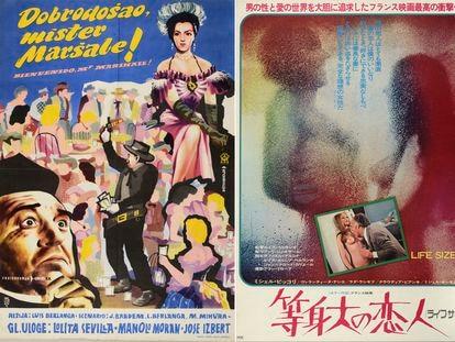 Los carteles en serbocroata de 'Bienvenido, mister Marshall', y en japonés de 'Tamaño natural', que se exhiben en la exposición.