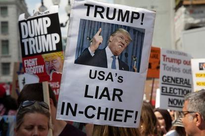 Una manifestación contra Donald Trump durante una de sus visitas al Reino Unido, en julio de 2018.