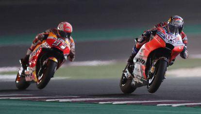 Dovizioso y Márquez, en el gran premio de Qatar.