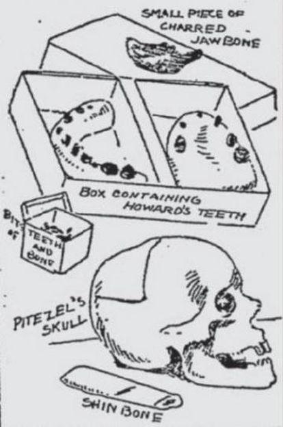 Dibujos publicados en el diario 'New York Journal', de Hearst, con los restos de Benjamin Pitezel y su hijo Howard.