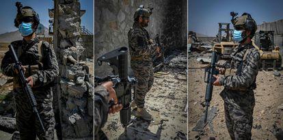Talibanes en la que fuera sede de la CIA en Kabul, el 6 de septiembre.