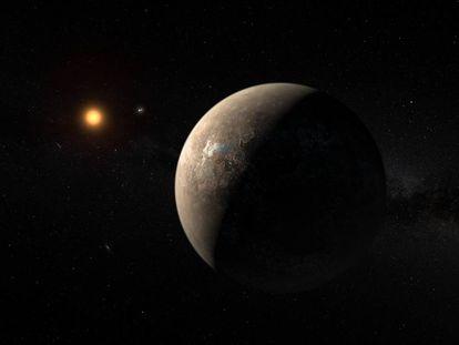 Recreación artística del planeta Proxima b y su estrella