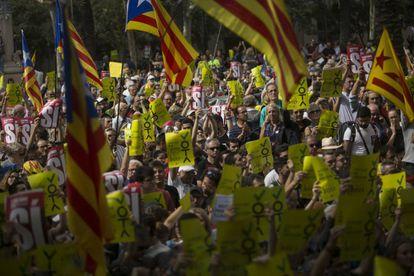 Concentración frente al Tribunal Superior de Justicia de Cataluña para protestar contra los arrestos de esta semana.