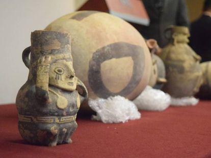 Las piezas arqueológicas devueltas a Perú.