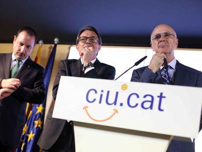 Espadaler Mas y Duran i Lleida en la rueda de prensa de hoy