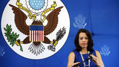 Kelly Keiderling, en una rueda de prensa en Caracas.