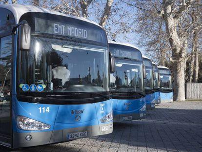 Autobuses de la EMT de Madrid, en una imagen de archivo.