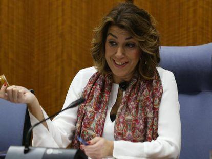 Susana Díaz, este miércoles en el Parlamento andaluz.
