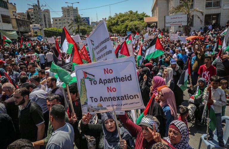 Manifestación el mes pasado en Gaza contra la anexión de Cisjordania.