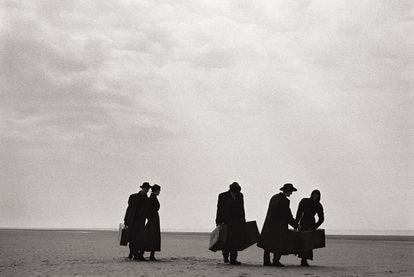 Modelos, en la playa francesa de Le Touquet en 1986.