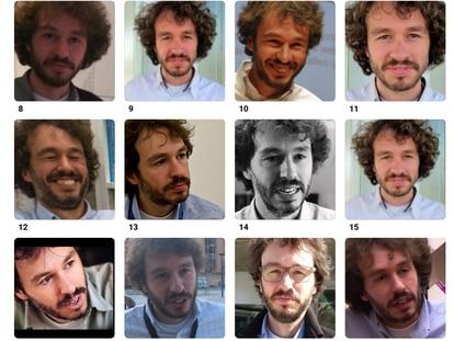 La start-up de reconocimiento facial Clearview AI rastrea internet para encontrar fotos de caras. Luego las coloca en una enorme base de datos y su software permite identificar a millones de personas. En la imagen, las fotos son de un periodista de EL PAÍS.