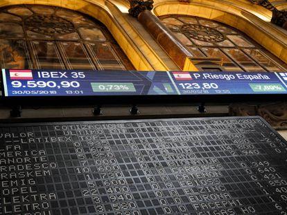 Panel con las cotizaciones en la Bolsa de Madrid