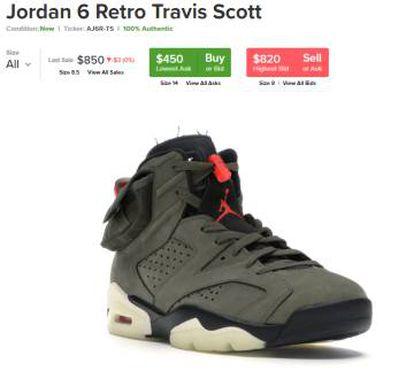 Uno de los modelos de Nike que más interés está despertando. Captura de pantalla de la plataforma de compraventa StockX.