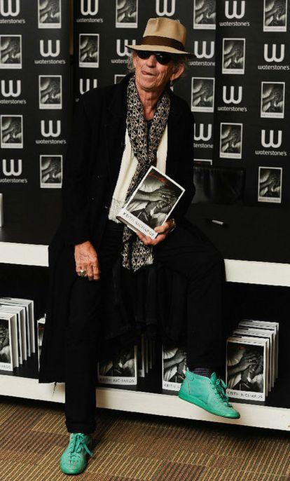 Keith Richards, ayer con su libro.