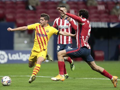 Sergi Roberto, en el partido contra el Atlético, el último que disputó antes de lesionarse.