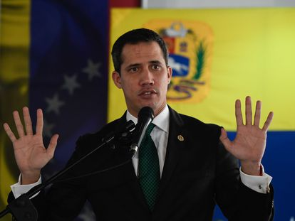 Juan Guaidó, durante una conferencia de prensa en Caracas.