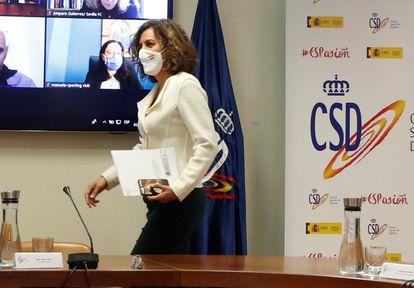 La Secretaria de Estado para el Deporte Irene Lozano, durante una reunión en el CSD el pasado mes de diciembre.