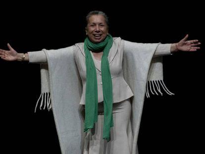 Carmelilla Montoya, este jueves en Fibes durante el homenaje que le rindió el mundo del flamenco en su despedida de los escenarios.