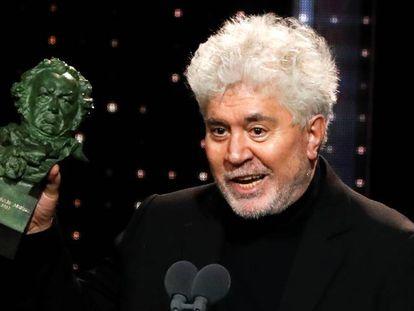 El director Pedro Almodóvar, tras recoger un galardón en la gala de los Premios Goya, este sábado en Málaga. En vídeo, declaraciones de los principales galardonados.