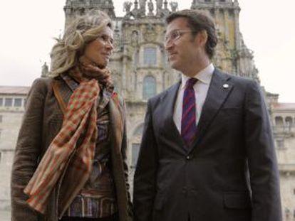 La ministra en funciones de Ciencia e Innovación, Cristina Garmendia, junto al presidente de la Xunta, Alberto Núñez Feijóo.