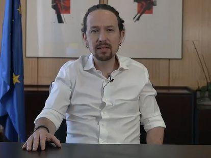 Captura del vídeo publicado hoy por Pablo Iglesias en el que anuncia que deja el Gobierno y se presentará a las elecciones madrileñas.