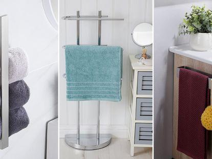 12 soluciones para colgar toallas en el baño sin taladrar ni hacer agujeros