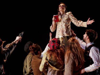 Ensayo de la obra 'La Isla del Tesoro' por La Joven Compañía de Teatro en el Cuartel del Conde Duque.