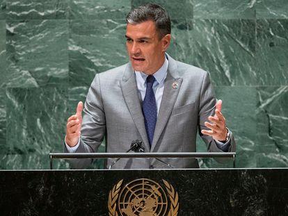 Pedro Sánchez, durante su discurso ante la ONU este miércoles en Nueva York.