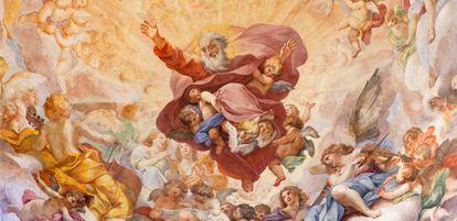 Dios, representado en el fresco 'El Eterno en gloria', de Luigi Garzi, en la capilla Cybo de Santa María del Popolo, en Roma.