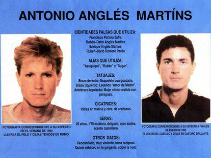 El cartel editado por el Ministerio del Interior en 1993 para la búsqueda de Anglés.
