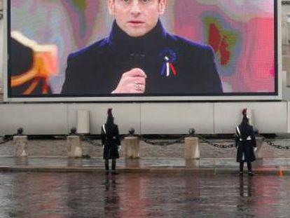 Macron interviene en la celebración del centenario de la Primera Guerra Mundial, el 11 de noviembre en París.