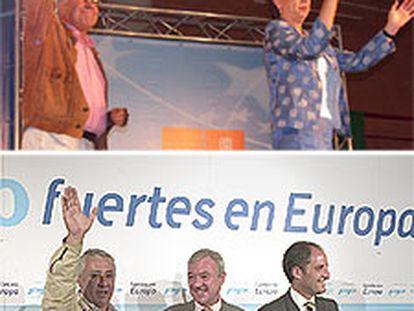Arriba, Felipe González y Magdalena Álvarez, ayer en el cierre de campaña en Málaga. Debajo, Arenas, Ramón Luis Valcárcel y Francisco Camps, en Almería.