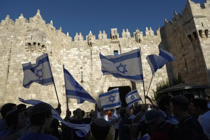 Nacionalistas israelíes, el 15 de junio de 2021 en la puerta de Damasco, en la Ciudad Vieja de Jerusalén.