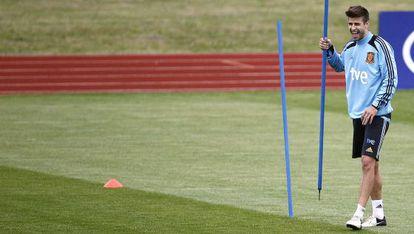 Gerard Piqué, en un entrenamiento en Gniewino