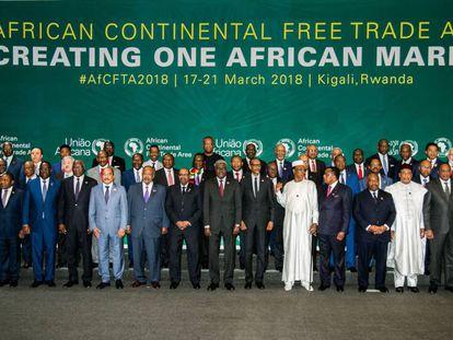 Los jefes de Estado y Gobierno durante la cumbre de la UA celebrada el pasado 21 de marzo en Kigali.