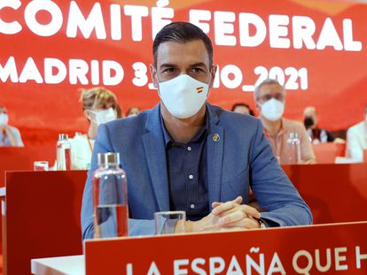 Pedro Sánchez, en el comité federal del PSOE, este sábado.