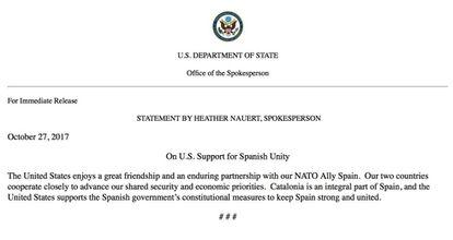 Nota del Departamento de Estado de Estados Unidos.