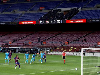 En el Camp Nou sin público, Messi marca el segundo gol del Barcelona ante el Leganés.