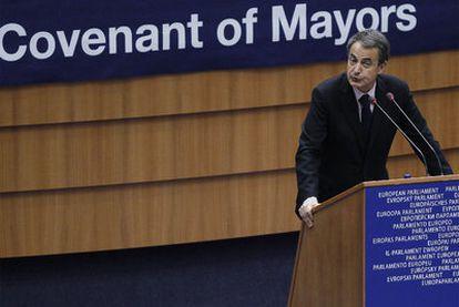 José Luis Rodríguez Zapatero, durante su intervención, ayer en el Parlamento Europeo.