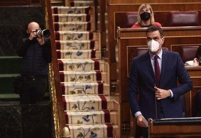 El presidente del Gobierno, Pedro Sánchez, la semana pasada en el Congreso.