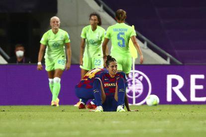 Jenni Hermoso, tras perder ante el Wolfsburgo este martes en Anoeta en las semifinales de la Champions.